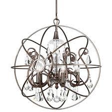 crystorama lighting group solaris english bronze five light chandelier with clear swarovski strass crystal
