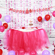 Sunbeauty Set Pink Theme Happy Birthday Decoration DIY Kids Party Favor  Princess Happy Birthday Party Decorations