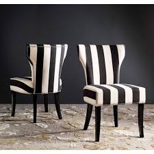 safavieh en vogue dining matty black and white striped side chairs set of 2