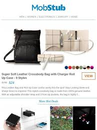 mobstub super soft leather cross bag with charger roll up case milled