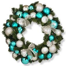 national tree company 30inch silver and blue ornament wreath green silver turquoise national tree company wreaths l97
