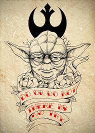 Yoda Design Dotwork Yoda With Banner Tattoo Design By Khalil Canabarro