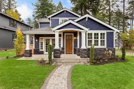 exterior house painting dark blue