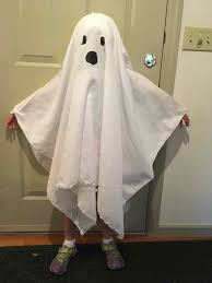 kimmie wearing her finished ghost costume demonstrates why the wrist straps are especially useful