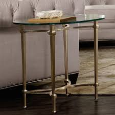 highland park glass top plated metal end table in gold