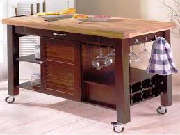 image of butcher block kitchen cart