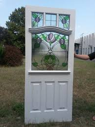 edwardian 4 panel front door with traditional stained glass