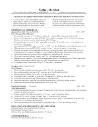 Resume Templates For Management Positions
