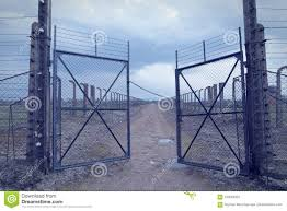 barbed wire fence concentration camp. Download Gate To The Concentration Camp Auschwitz-birkenau. Barbed Wire Fence Around Death T