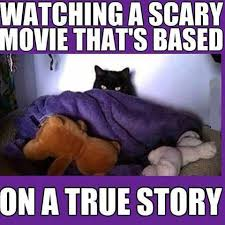 Watching scary movie | Funny Pictures, Quotes, Memes, Jokes via Relatably.com