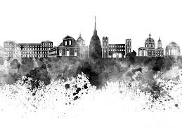 turin painting turin skyline in black watercolor on white background by pablo romero