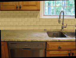 Small Kitchen Interior Design With White Granite Countertops And Ceramic Backsplash  Tile Ideas Also Wooden Floor And Classy Washbowl