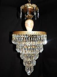 antique large brass crystal empire chandelier 5 lights wedding cake onix column
