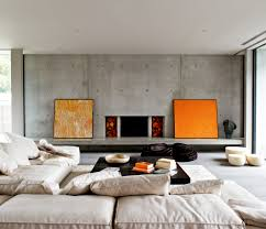 Grey Wall Decorating With Concrete Sideboard Also Sofa Bed With Cushions  Also White Ceiling In Modern ...