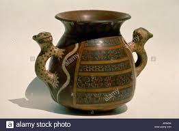 Peru South America Inca Ceremonial Ceramic Vessel With Handles