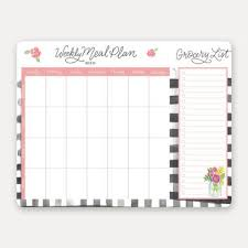 Weekly Meal Planer Weekly Meal Planner Pad Farmhouse Gingham