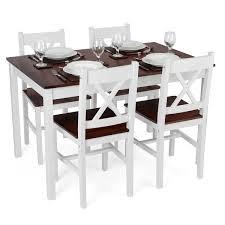 white and dark brown luxury dining set