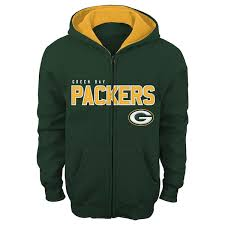 Full Zip Hoodie Team Bay Stated Green Packers Fan Youth Gear Color