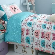 polka dot duvet cover kitty set kids girls cats bedding new single double red large