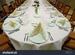 Setting A Dinner Table Table Setting Large Dinner Table Set Stock Photo 5731282
