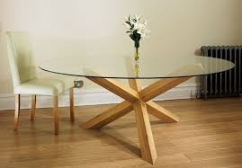 tfw new court solid oak glass round dining table pedestal