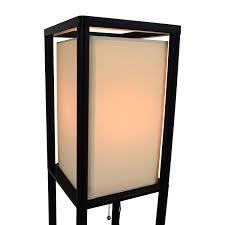 Shelf Floor Lamp White Black With Shelves Square Turned Wood Shade