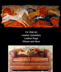 native american paintings reproduced on leather for furniture rugs wall art