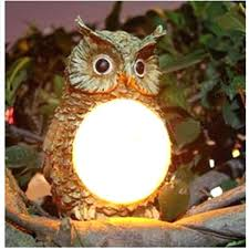 solar powered owl led light outdoor garden decor statue landscape lamp wind chime
