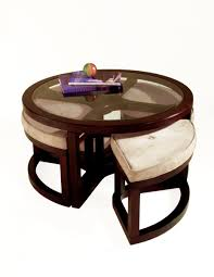 Coffee Table Round Leather Ottoman With Storage Adjustable Height