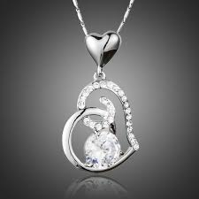 18k white gold plated stellux crystals heart pendant necklace for valentine s day gift of love 1