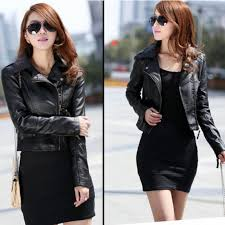 details about fashion new female slim pu leather motorcycle jacket women coat short jacket