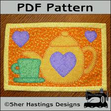 PDF Pattern for Tea Time Mug Rug Teapot Mug Rug Pattern Tea & PDF Pattern for Tea Time Mug Rug, Teapot Mug Rug Pattern, Tea Mini Quilt  Pattern - Sewing Pattern, Tutorial, DIY Adamdwight.com