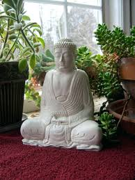 cement garden decor statue white robed concrete figure meditating by on  decorations