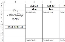 12 Week Calendar Template Excel Weekly Planner Template