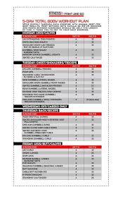 5 Day Workout Chart 5 Day Total Body Workout Plan Gym Workouts 5 Day Workout Plan