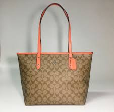 COACH City Zip Top Tote Bag in Signature Canvas Khaki Bright Orange