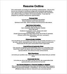 Resume Outline Example Beauteous Resume Outline Template 28 Free Sample Example Format Download