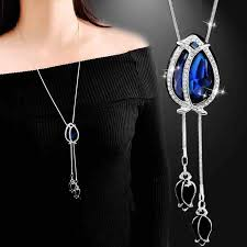 fashion women glass crystal tulip flower pendant necklace female new snake chain navy blue jewelry accessory