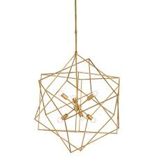 currey company aerial antique gold leaf six light chandelier