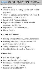 Bar Staff Job Description London Bar Advertises Exclusively For Good Looking Workers