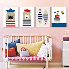 Cartoon Animals Sailor Style Ship <b>Wall</b> Art Prints For Kids Bedroom ...