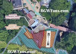 the site plan from bgwfans com showing the proposed location the ride should be swinging over the river according to the placement in this image