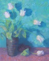 """Painting : """"Falling tulips"""" (Original art by Roselyn (Rose) Rhodes)"""