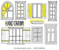 window designs drawing. Brilliant Designs A Set Of Drawings By Hand Shuttered Windows Open Modern Inside Window Designs Drawing G