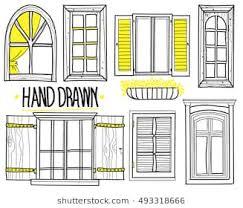 window drawing. Wonderful Window A Set Of Drawings By Hand Shuttered Windows Open Modern To Window Drawing N