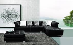 AE L138L B Black Sectional Sofa and Ottoman American Eagle