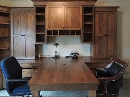 knotty alder wood peninsula desk storage cabinets