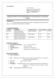Sample Resume For Fresher Mechanical Engineering Student Write