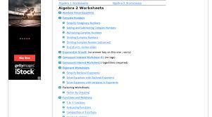 algebra 2 worksheets