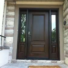 fiberglass door single fiberglass woodgrain solid door with 2 side lites installed by fiberglass doors